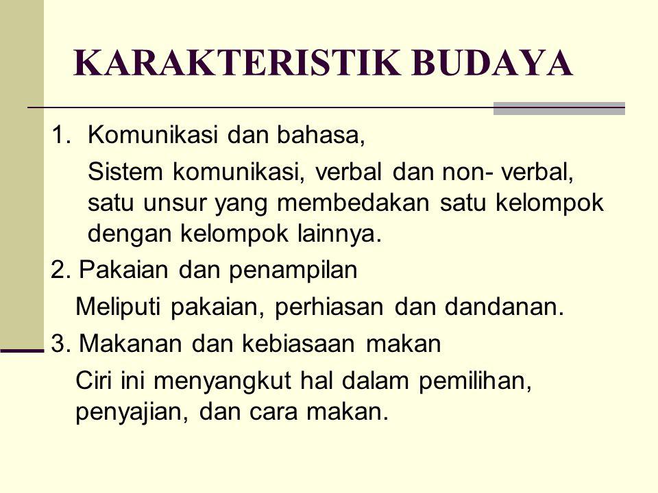 KARAKTERISTIK BUDAYA 1.Komunikasi dan bahasa, Sistem komunikasi, verbal dan non- verbal, satu unsur yang membedakan satu kelompok dengan kelompok lain