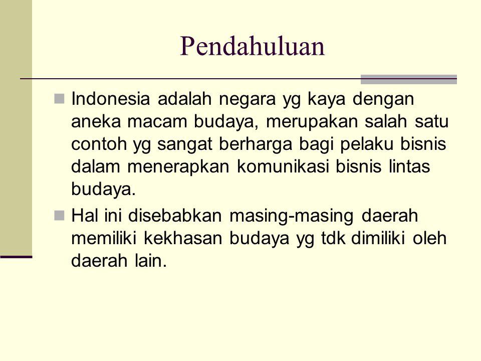 Pendahuluan Indonesia adalah negara yg kaya dengan aneka macam budaya, merupakan salah satu contoh yg sangat berharga bagi pelaku bisnis dalam menerap