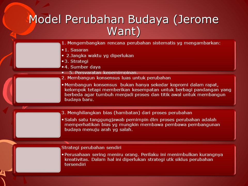 Model Perubahan Budaya (Jerome Want) 1. Mengembangkan rencana perubahan sistematis yg mengambarkan: 1. Sasaran 2.Jangka waktu yg diperlukan 3. Strateg