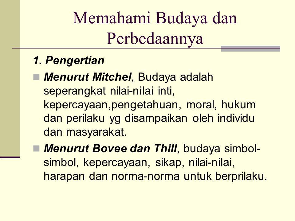 Memahami Budaya dan Perbedaannya 1. Pengertian Menurut Mitchel, Budaya adalah seperangkat nilai-nilai inti, kepercayaan,pengetahuan, moral, hukum dan