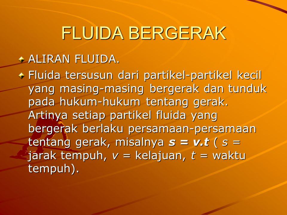 FLUIDA BERGERAK ALIRAN FLUIDA. Fluida tersusun dari partikel-partikel kecil yang masing-masing bergerak dan tunduk pada hukum-hukum tentang gerak. Art