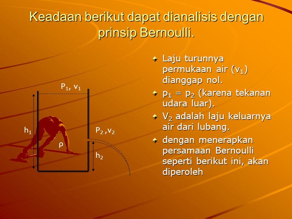 Keadaan berikut dapat dianalisis dengan prinsip Bernoulli. Laju turunnya permukaan air (v 1 ) dianggap nol. p 1 = p 2 (karena tekanan udara luar). V 2