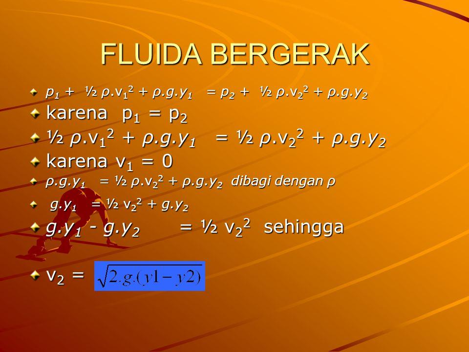 FLUIDA BERGERAK p 1 + ½ ρ.v 1 2 + ρ.g.y 1 = p 2 + ½ ρ.v 2 2 + ρ.g.y 2 karena p 1 = p 2 ½ ρ.v 1 2 + ρ.g.y 1 = ½ ρ.v 2 2 + ρ.g.y 2 karena v 1 = 0 ρ.g.y