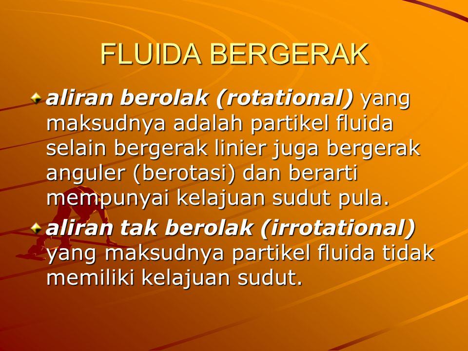 FLUIDA BERGERAK aliran berolak (rotational) yang maksudnya adalah partikel fluida selain bergerak linier juga bergerak anguler (berotasi) dan berarti