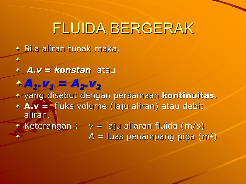 FLUIDA BERGERAK Bila aliran tunak maka, A.v = konstan atau A.v = konstan atau A 1.v 1 = A 2.v 2 yang disebut dengan persamaan kontinuitas. A.v = fluks