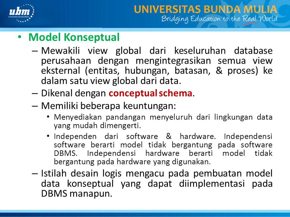 Model Konseptual – Mewakili view global dari keseluruhan database perusahaan dengan mengintegrasikan semua view eksternal (entitas, hubungan, batasan,