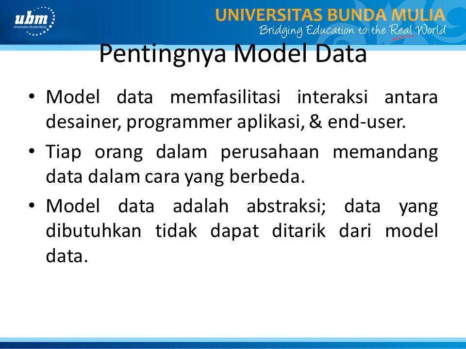 Pentingnya Model Data Model data memfasilitasi interaksi antara desainer, programmer aplikasi, & end-user. Tiap orang dalam perusahaan memandang data