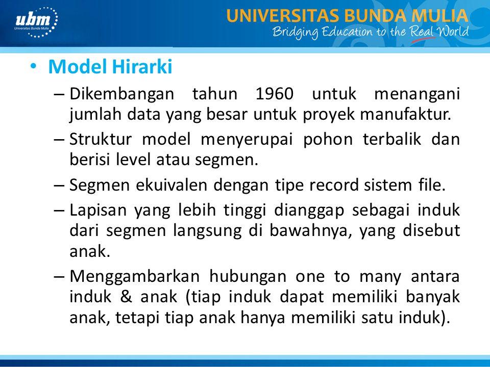 Model Hirarki – Dikembangan tahun 1960 untuk menangani jumlah data yang besar untuk proyek manufaktur. – Struktur model menyerupai pohon terbalik dan