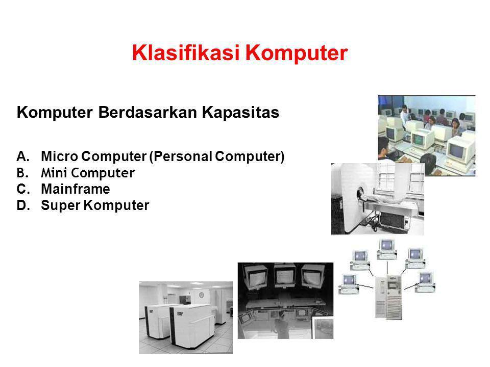 Berdasarkan Ukurannya 1.Micro Komputer.Mempunyai main memory (16Kb–1Mb).