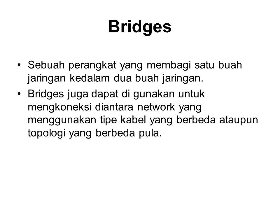 Bridges Sebuah perangkat yang membagi satu buah jaringan kedalam dua buah jaringan. Bridges juga dapat di gunakan untuk mengkoneksi diantara network y