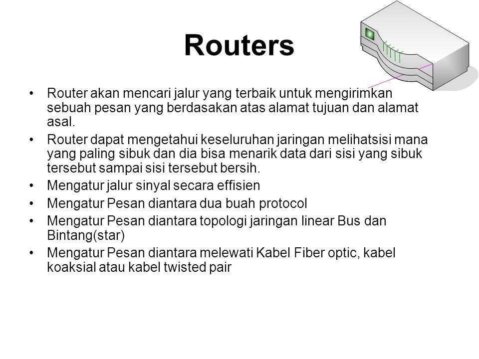 Routers Router akan mencari jalur yang terbaik untuk mengirimkan sebuah pesan yang berdasakan atas alamat tujuan dan alamat asal. Router dapat mengeta
