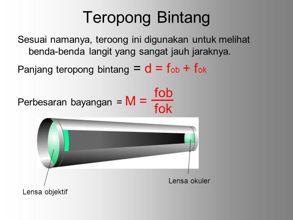 Teropong Bintang Sesuai namanya, teroong ini digunakan untuk melihat benda-benda langit yang sangat jauh jaraknya. Panjang teropong bintang = d = f ob