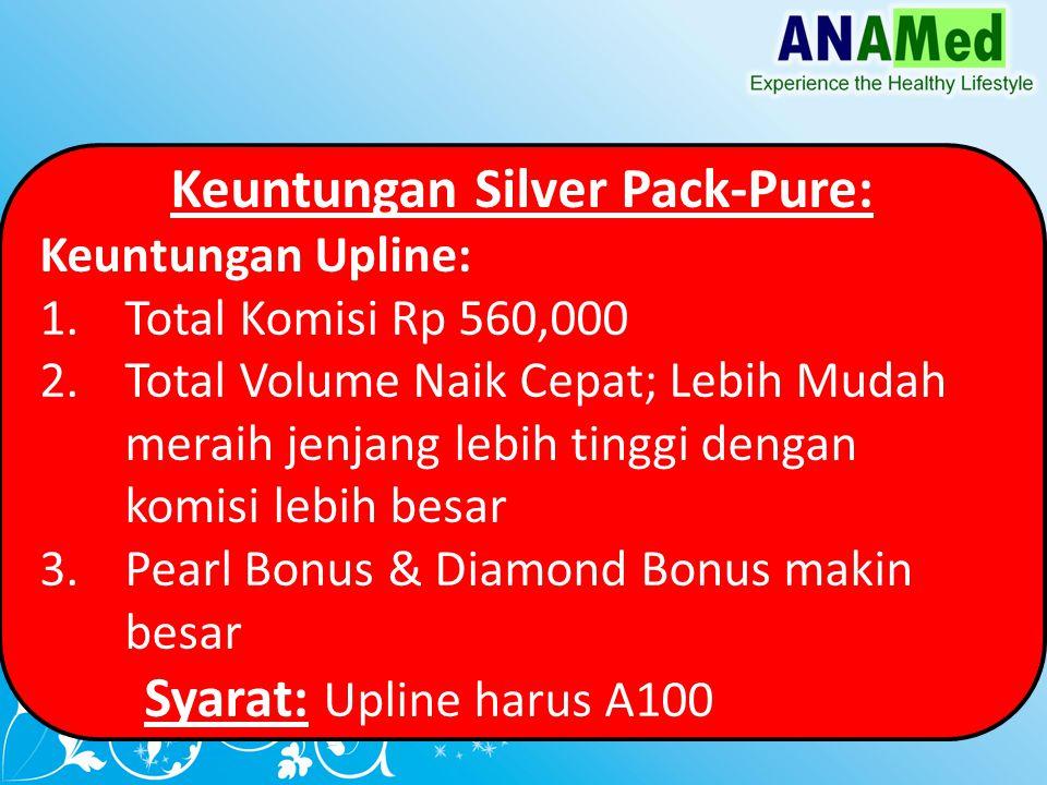Keuntungan Silver Pack-Pure: Keuntungan Upline: 1.Total Komisi Rp 560,000 2.Total Volume Naik Cepat; Lebih Mudah meraih jenjang lebih tinggi dengan komisi lebih besar 3.Pearl Bonus & Diamond Bonus makin besar Syarat: Upline harus A100