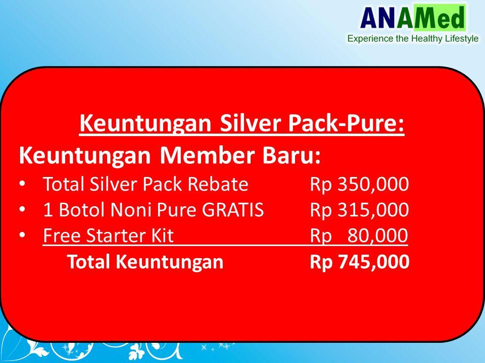 Keuntungan Silver Pack-Pure: Keuntungan Member Baru: Total Silver Pack Rebate Rp 350,000 1 Botol Noni Pure GRATISRp 315,000 Free Starter Kit Rp 80,000 Total KeuntunganRp 745,000