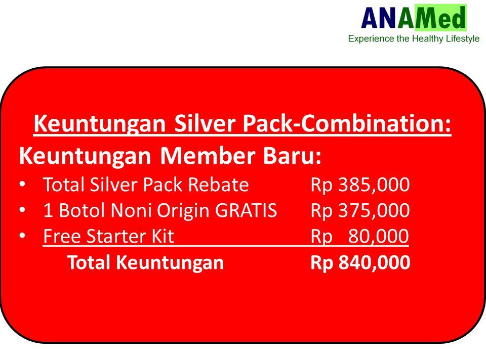 Keuntungan Silver Pack-Combination: Keuntungan Member Baru: Total Silver Pack Rebate Rp 385,000 1 Botol Noni Origin GRATISRp 375,000 Free Starter Kit Rp 80,000 Total KeuntunganRp 840,000