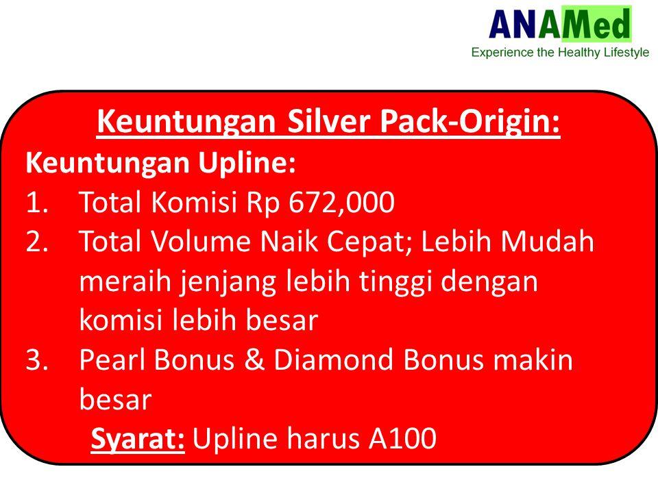 Keuntungan Silver Pack-Origin: Keuntungan Upline: 1.Total Komisi Rp 672,000 2.Total Volume Naik Cepat; Lebih Mudah meraih jenjang lebih tinggi dengan komisi lebih besar 3.Pearl Bonus & Diamond Bonus makin besar Syarat: Upline harus A100