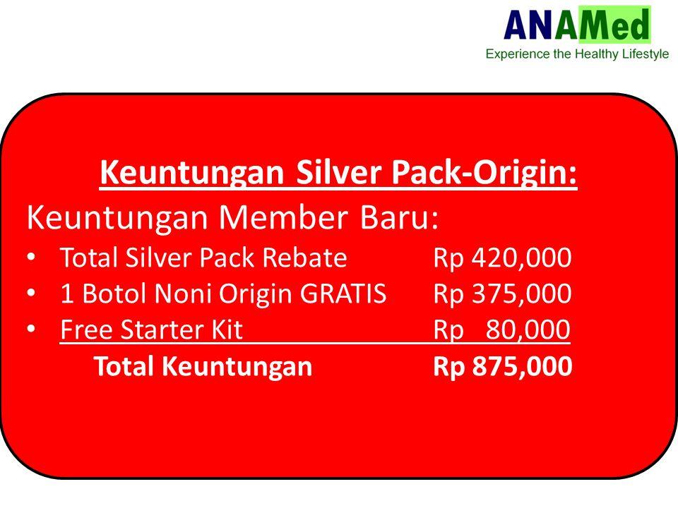 Keuntungan Silver Pack-Origin: Keuntungan Member Baru: Total Silver Pack Rebate Rp 420,000 1 Botol Noni Origin GRATISRp 375,000 Free Starter Kit Rp 80,000 Total KeuntunganRp 875,000