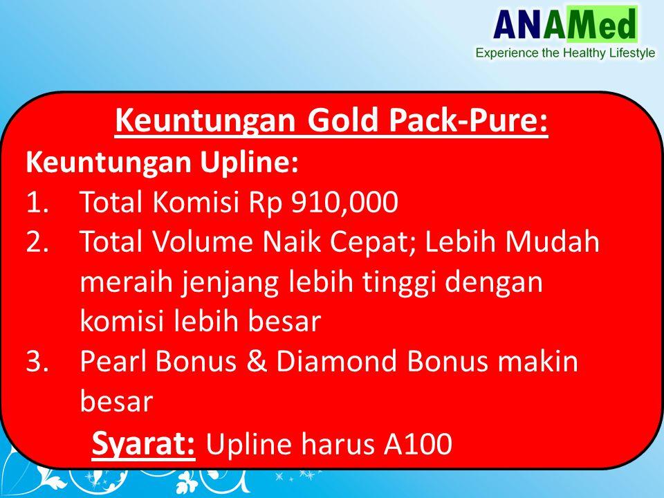 Keuntungan Gold Pack-Pure: Keuntungan Upline: 1.Total Komisi Rp 910,000 2.Total Volume Naik Cepat; Lebih Mudah meraih jenjang lebih tinggi dengan komisi lebih besar 3.Pearl Bonus & Diamond Bonus makin besar Syarat: Upline harus A100