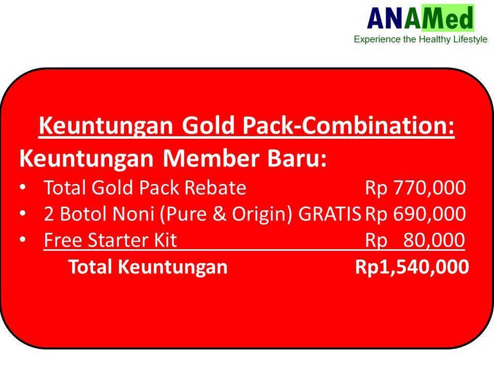 Keuntungan Gold Pack-Combination: Keuntungan Member Baru: Total Gold Pack Rebate Rp 770,000 2 Botol Noni (Pure & Origin) GRATISRp 690,000 Free Starter Kit Rp 80,000 Total Keuntungan Rp1,540,000
