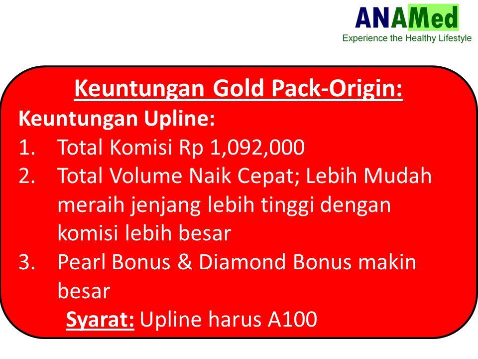 Keuntungan Gold Pack-Origin: Keuntungan Upline: 1.Total Komisi Rp 1,092,000 2.Total Volume Naik Cepat; Lebih Mudah meraih jenjang lebih tinggi dengan komisi lebih besar 3.Pearl Bonus & Diamond Bonus makin besar Syarat: Upline harus A100