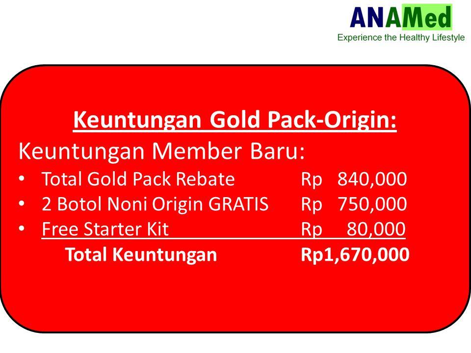 Keuntungan Gold Pack-Origin: Keuntungan Member Baru: Total Gold Pack Rebate Rp 840,000 2 Botol Noni Origin GRATISRp 750,000 Free Starter Kit Rp 80,000 Total KeuntunganRp1,670,000