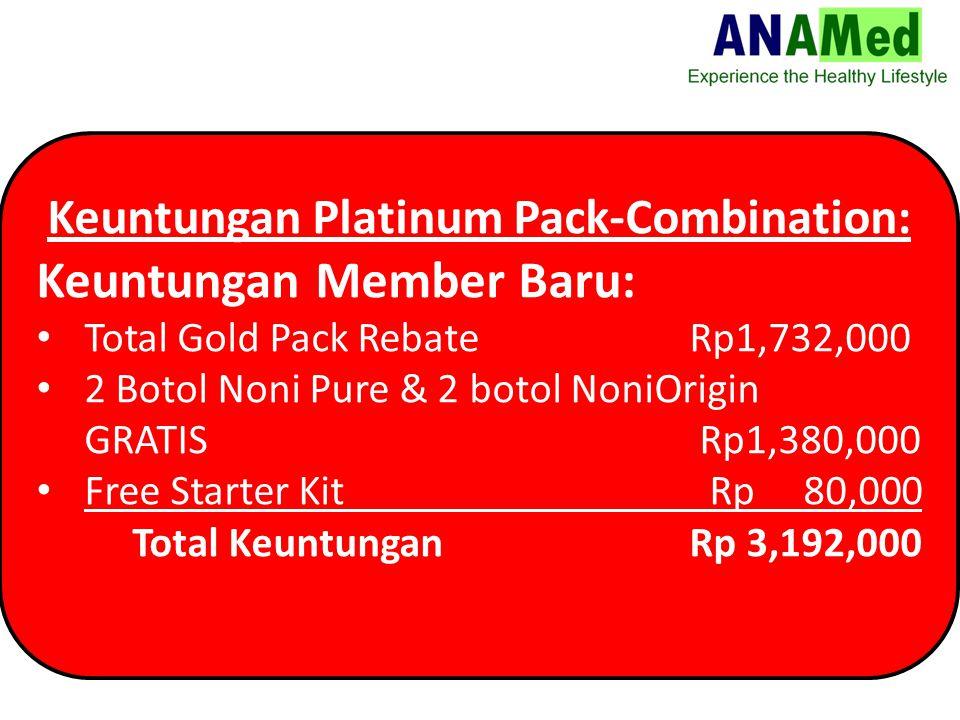 Keuntungan Platinum Pack-Combination: Keuntungan Member Baru: Total Gold Pack Rebate Rp1,732,000 2 Botol Noni Pure & 2 botol NoniOrigin GRATIS Rp1,380,000 Free Starter Kit Rp 80,000 Total Keuntungan Rp 3,192,000