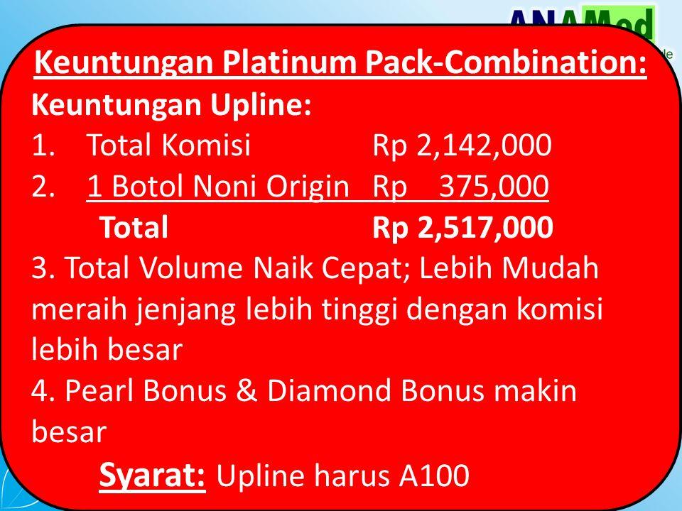 Keuntungan Platinum Pack-Combination: Keuntungan Upline: 1.Total Komisi Rp 2,142,000 2.1 Botol Noni Origin Rp 375,000 TotalRp 2,517,000 3.