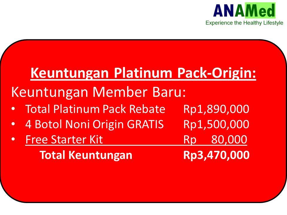 Keuntungan Platinum Pack-Origin: Keuntungan Member Baru: Total Platinum Pack Rebate Rp1,890,000 4 Botol Noni Origin GRATISRp1,500,000 Free Starter Kit Rp 80,000 Total KeuntunganRp3,470,000