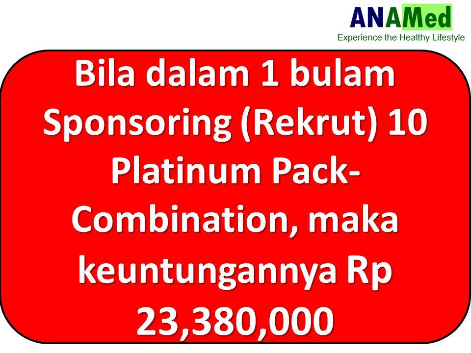 Bila dalam 1 bulam Sponsoring (Rekrut) 10 Platinum Pack- Combination, maka keuntungannya Rp 23,380,000