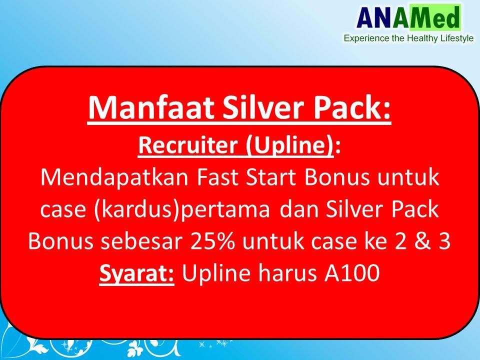 Manfaat Silver Pack: Recruiter (Upline): Mendapatkan Fast Start Bonus untuk case (kardus)pertama dan Silver Pack Bonus sebesar 25% untuk case ke 2 & 3 Syarat: Upline harus A100