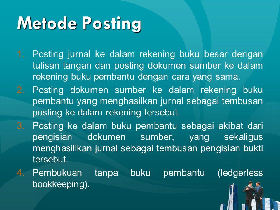 Metode Posting 1.Posting jurnal ke dalam rekening buku besar dengan tulisan tangan dan posting dokumen sumber ke dalam rekening buku pembantu dengan cara yang sama.