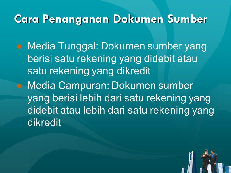 Cara Penanganan Dokumen Sumber ●Media Tunggal: Dokumen sumber yang berisi satu rekening yang didebit atau satu rekening yang dikredit ●Media Campuran: