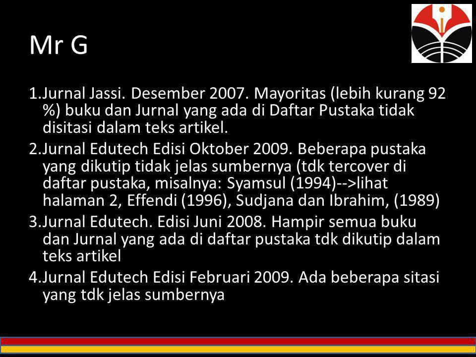 Mr G 1.Jurnal Jassi. Desember 2007. Mayoritas (lebih kurang 92 %) buku dan Jurnal yang ada di Daftar Pustaka tidak disitasi dalam teks artikel. 2.Jurn