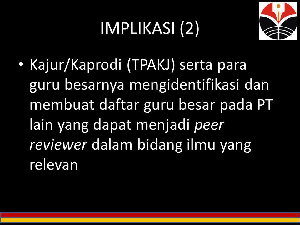 IMPLIKASI (2) Kajur/Kaprodi (TPAKJ) serta para guru besarnya mengidentifikasi dan membuat daftar guru besar pada PT lain yang dapat menjadi peer revie