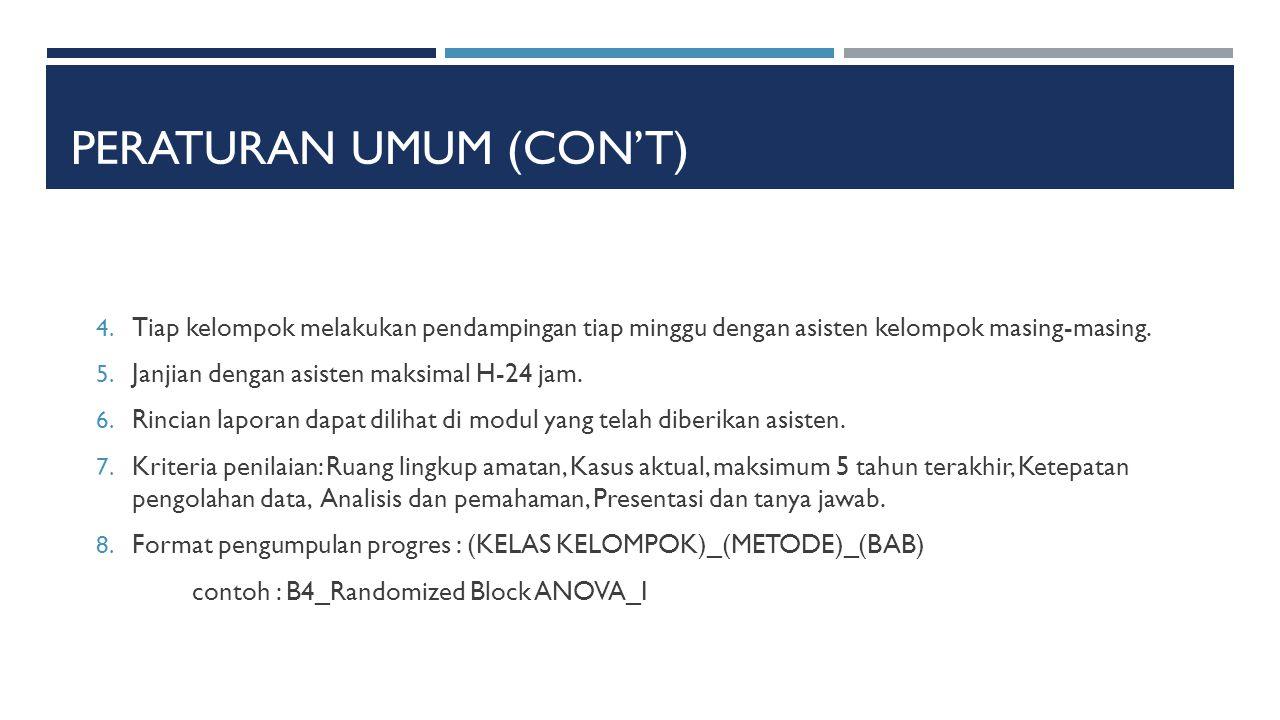 PERATURAN UMUM (CON'T) 4.