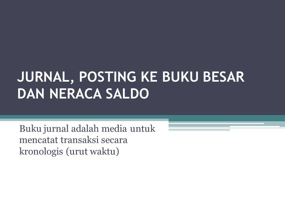JURNAL, POSTING KE BUKU BESAR DAN NERACA SALDO Buku jurnal adalah media untuk mencatat transaksi secara kronologis (urut waktu)