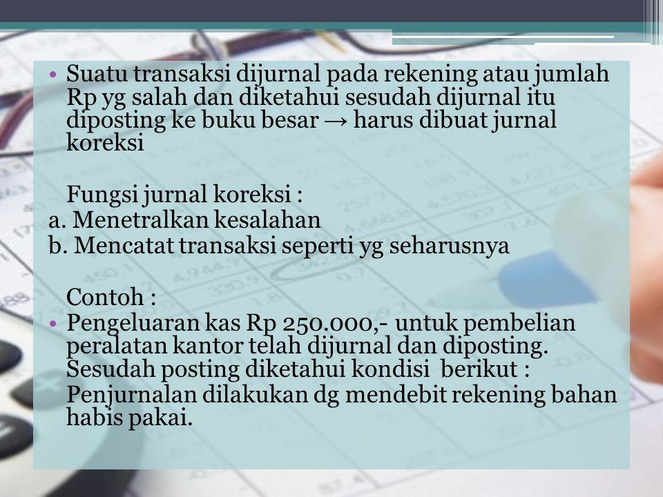 Suatu transaksi dijurnal pada rekening atau jumlah Rp yg salah dan diketahui sesudah dijurnal itu diposting ke buku besar → harus dibuat jurnal koreks