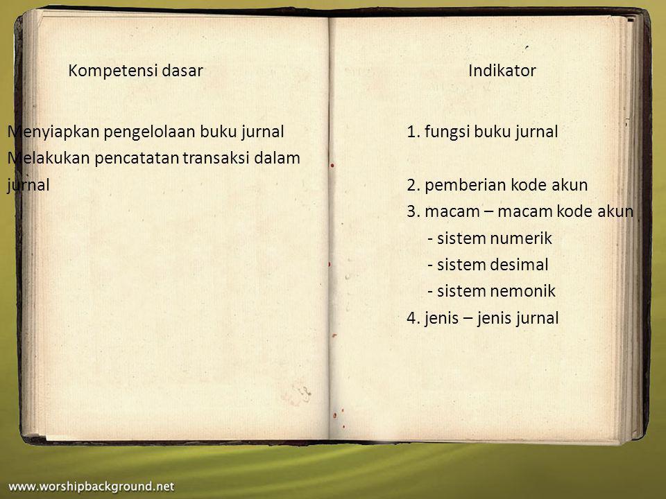 Menyiapkan pengelolaan buku jurnal1. fungsi buku jurnal Melakukan pencatatan transaksi dalam jurnal2. pemberian kode akun 3. macam – macam kode akun -