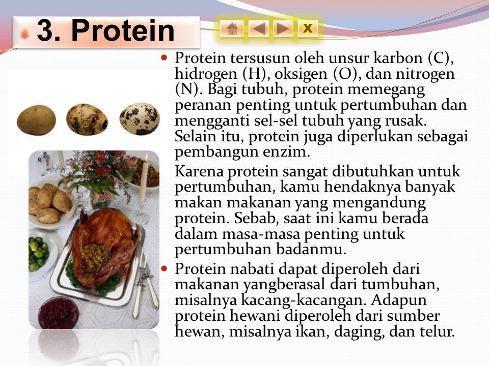 3.Protein Protein tersusun oleh unsur karbon (C), hidrogen (H), oksigen (O), dan nitrogen (N).