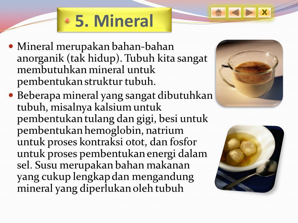 5.Mineral Mineral merupakan bahan-bahan anorganik (tak hidup).