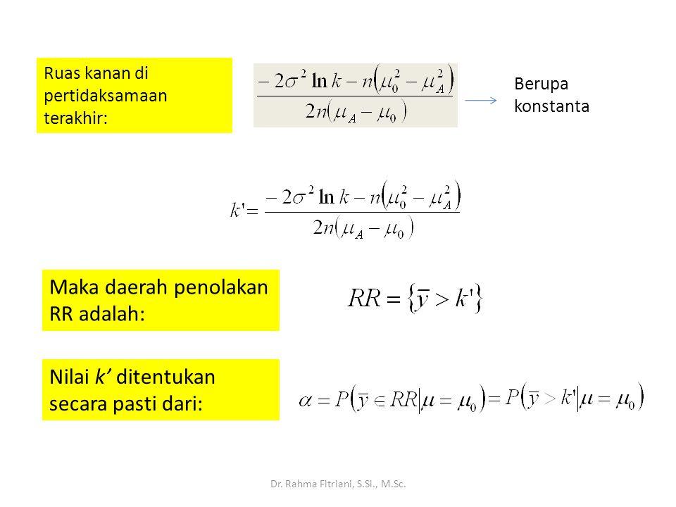 Dr. Rahma Fitriani, S.Si., M.Sc. Ruas kanan di pertidaksamaan terakhir: Berupa konstanta Maka daerah penolakan RR adalah: Nilai k' ditentukan secara p