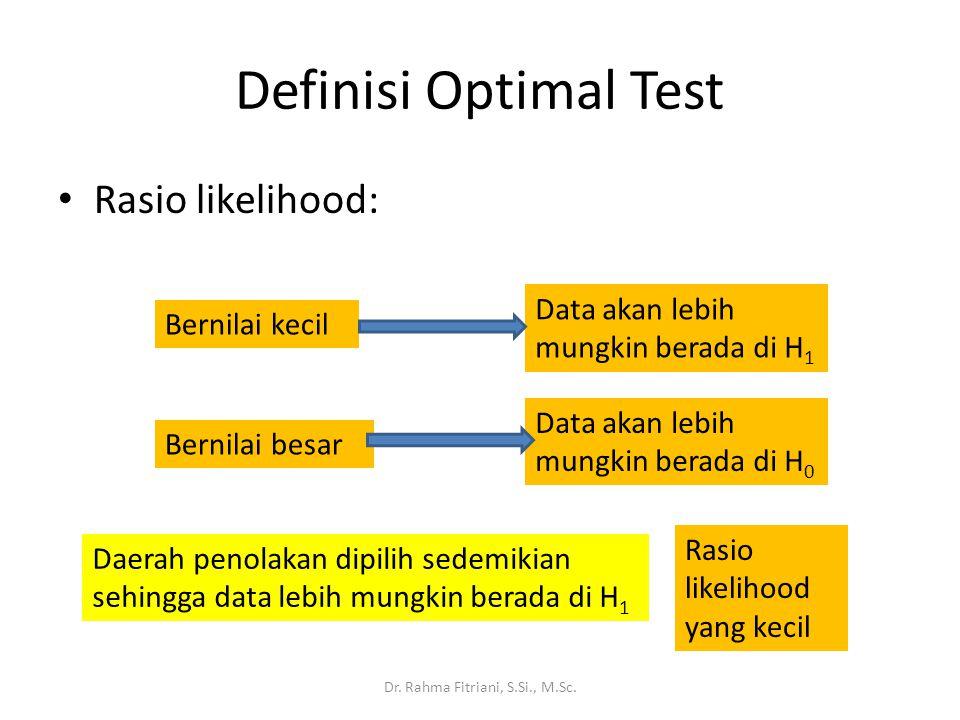 Rasio likelihood: Dr. Rahma Fitriani, S.Si., M.Sc. Definisi Optimal Test Bernilai kecil Data akan lebih mungkin berada di H 1 Bernilai besar Data akan