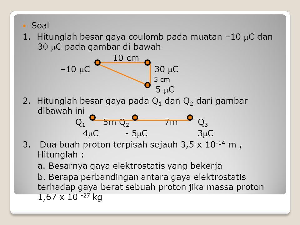 Soal 1. Hitunglah besar gaya coulomb pada muatan –10 C dan 30 C pada gambar di bawah 10 cm –10 C 30 C 5 cm 5 C 2. Hitunglah besar gaya pada Q 1 d