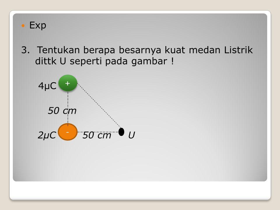 Exp 3. Tentukan berapa besarnya kuat medan Listrik dittk U seperti pada gambar ! 4μC 50 cm 2μC 50 cm U + + -