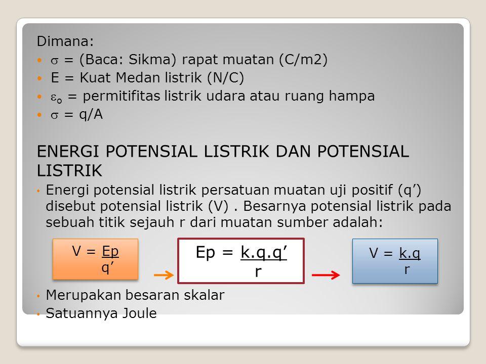 Dimana:  = (Baca: Sikma) rapat muatan (C/m2) E = Kuat Medan listrik (N/C)  o = permitifitas listrik udara atau ruang hampa  = q/A ENERGI POTENSIAL