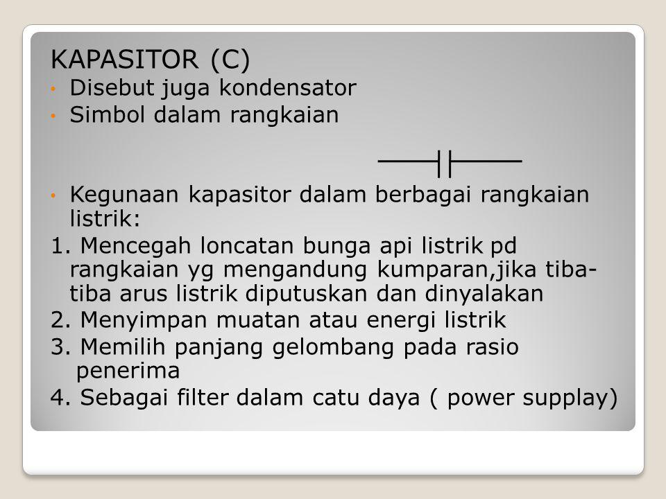 KAPASITOR (C) Disebut juga kondensator Simbol dalam rangkaian Kegunaan kapasitor dalam berbagai rangkaian listrik: 1. Mencegah loncatan bunga api list