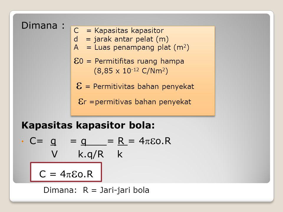 Dimana : Kapasitas kapasitor bola: C= q = q = R = 4  o.R V k.q/R k Dimana: R = Jari-jari bola C = Kapasitas kapasitor d = jarak antar pelat (m) A =