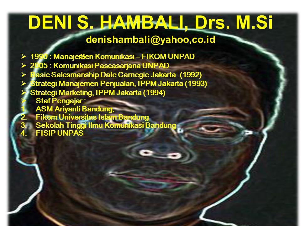 DENI S. HAMBALI, Drs. M.Si denishambali@yahoo,co.id iSiS 11990 : Manajemen Komunikasi – FIKOM UNPAD 22005 : Komunikasi Pascasarjana UNPAD BBasic