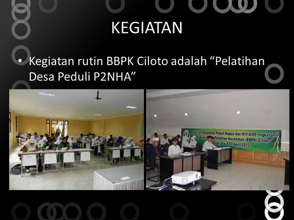 KEGIATAN Kegiatan rutin BBPK Ciloto adalah Pelatihan Desa Peduli P2NHA
