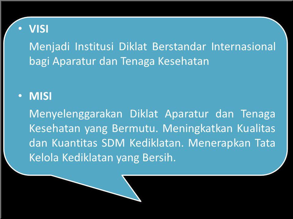 VISI Menjadi Institusi Diklat Berstandar Internasional bagi Aparatur dan Tenaga Kesehatan MISI Menyelenggarakan Diklat Aparatur dan Tenaga Kesehatan yang Bermutu.